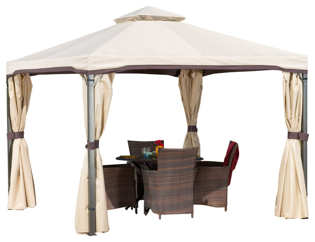 Sonoma Outdoor Gazebo Canopy With Net Drapery Beige transitional-gazebos  sc 1 st  Houzz & GDFStudio - Sonoma Outdoor Gazebo Canopy With Net Drapery - View ...