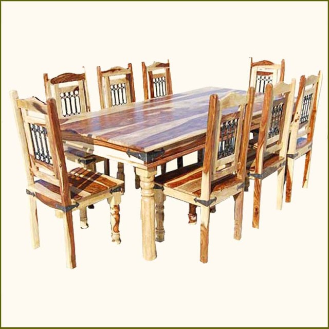 Elegant Rustic Solid Wood Dining Table Chairs Set for 8 ...