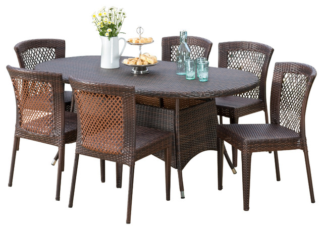Perry Outdoor Multibrown Wicker Round Dining 7-Piece Set.