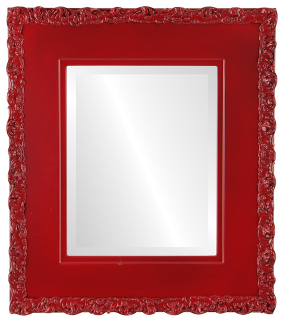Williamsburg Framed Rectangle Mirror in Holiday Red - Contemporary ...