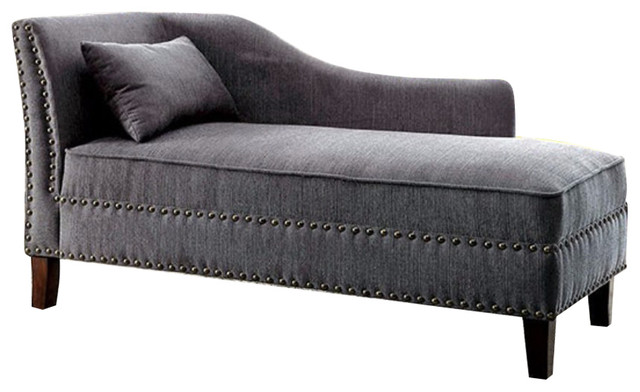 Contemporary Gray Linen-Like Fabric Chaise.