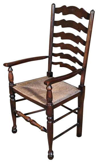 Antique English Oak Ladder Back Arm Chair Traditional