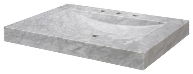 "RYVYR Stone Vanity Top, 24"" White Carrara Marble"