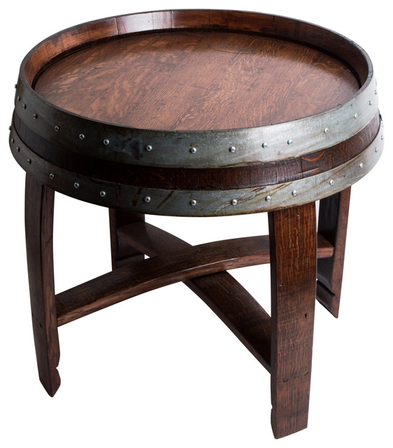 banded wine barrel side table with crossbraces red mahagony finish rustic side