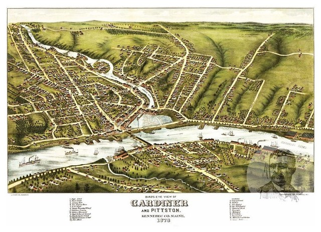 Vintage Maine Art Historic Decor Old Map of Hallowell ME from 1878