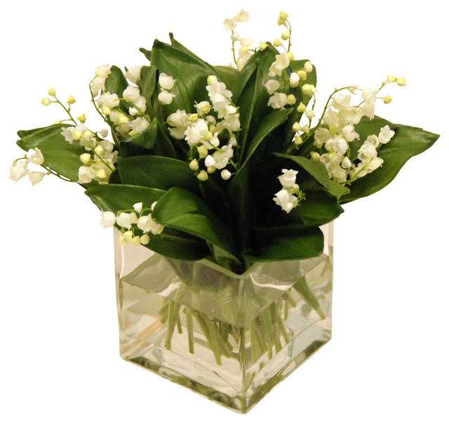 Faux Lily Of The Valley Bouquet In Square Vase