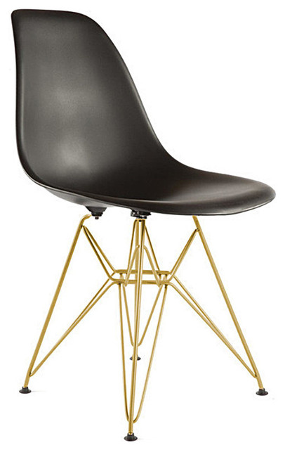 Eiffel Side Chair With Gold Legs, Black.