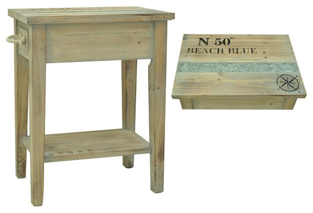 "Grand Isle Sun Bleached Wood Finish Chairside Table 18 1/4x13x23 1/2""."