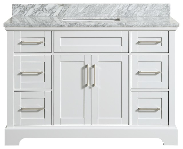 Delicieux Henson White Bathroom Vanity With Marble Top   Transitional   Bathroom  Vanities And Sink Consoles   By Houzz
