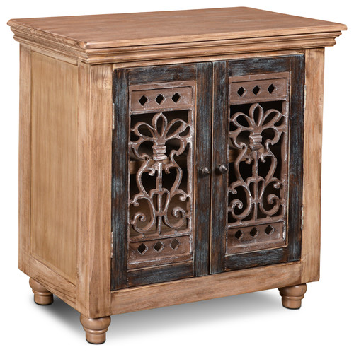 Keystone Rustic Solid Wood 2-Door Console Cabinet With Metal Work