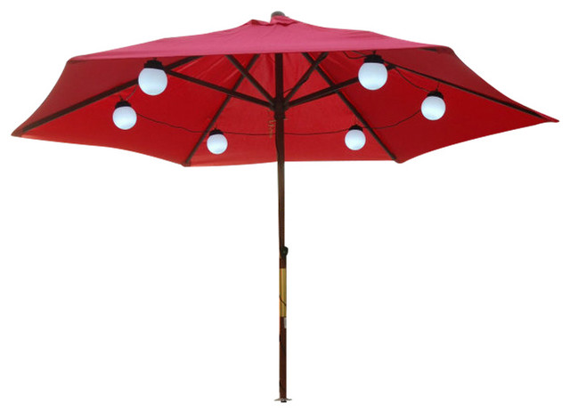 String Lights Under Umbrella : 6 Globe LED Umbrella Lights - Traditional - Outdoor Rope And String Lights - by Patio Living ...