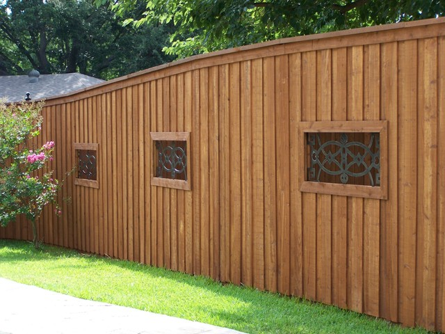 Board On Board Cedar Fence Wrought Iron Niches Dallas