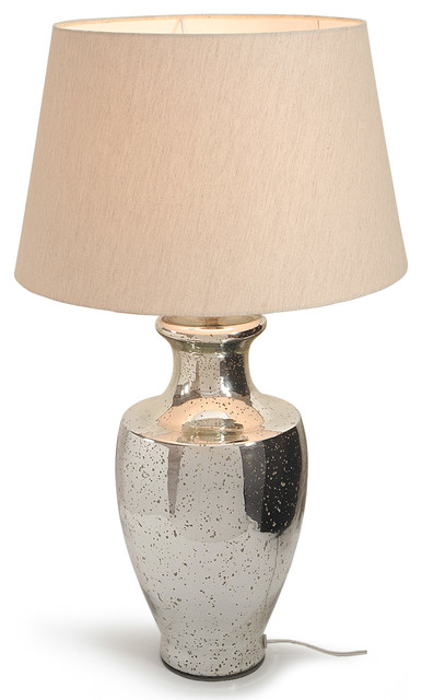 Belgravia Mirror Glass Table Lamp With Linen Shade.