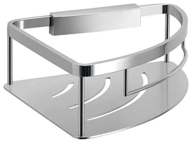 Modern Chromed Brass And Stainless Steel Corner Shower Basket Contemporary  Shower Caddies