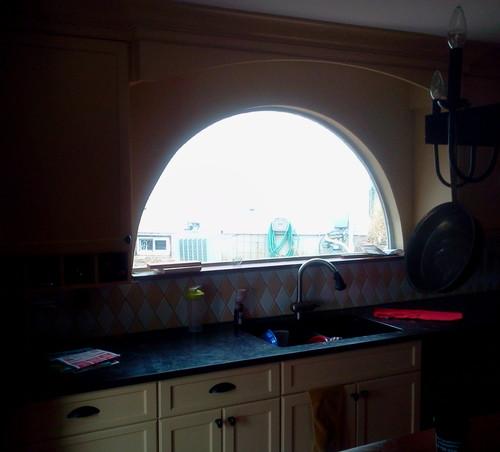 Suggestins for kitchen half moon window treatment