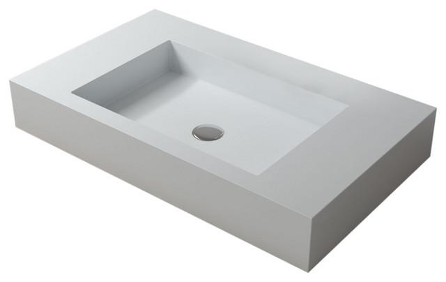 Polystone Rectangular Vessel Bathroom, Rectangular Vessel Bathroom Sink
