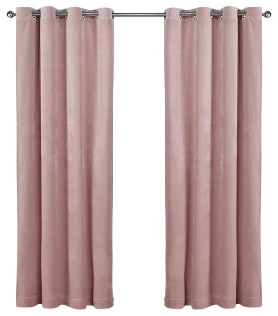 Velvet Grommet Top Curtains Set Of 2 Blush Pink 54 X108