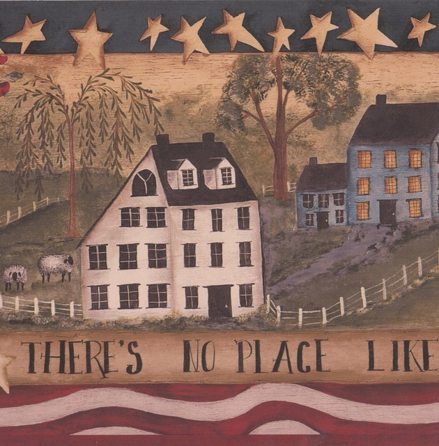There Is No Place Like Home Stripes Stars Village Retro Wallpaper Border Vintage.