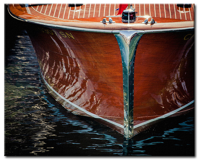 """Boat Bow, Classic Wooden Cruiser Canvas Art, Color Photography, 16""""x20"""""""