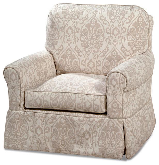 Custom Slipcovered Xl Swivel Glider Chair Brookeville