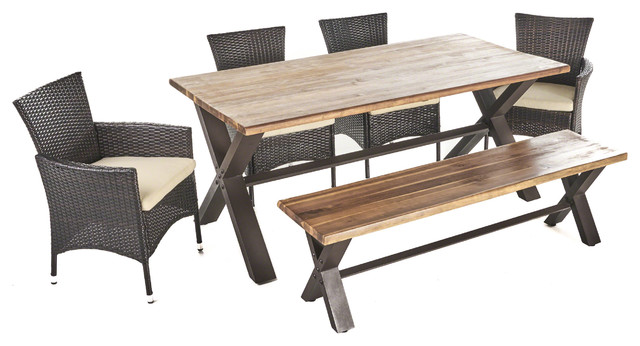 Trellis Outdoor 6 Piece Acacia Wood Dining Set With Wicker Chairs