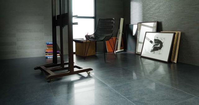 Porcelanosa Avenue Black Lappato Floor Tiles Traditional Living Room
