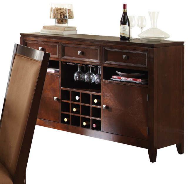 Steve silver cornell server with wine storage in rich