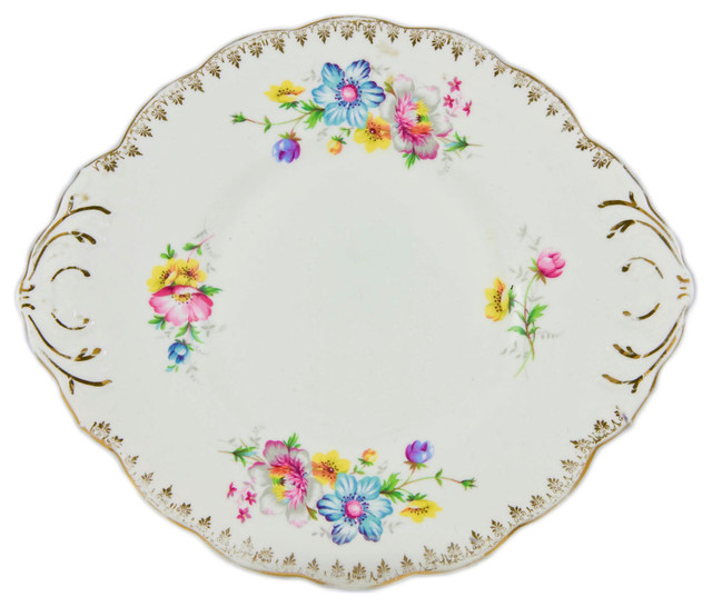 Consigned Cake Serving Plate w/ Floral Decoration by Salisbury China English 1  sc 1 st  Houzz & Consigned Cake Serving Plate w/ Floral Decoration by Salisbury China ...