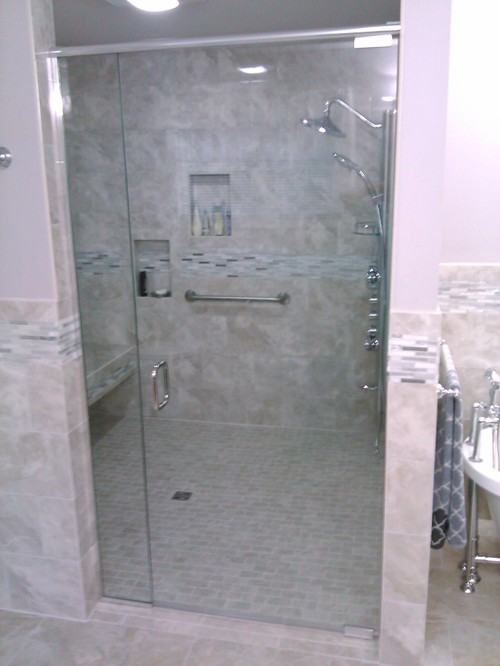 Custom built 6\'X6\' handicap accessible shower with dueling shower ...