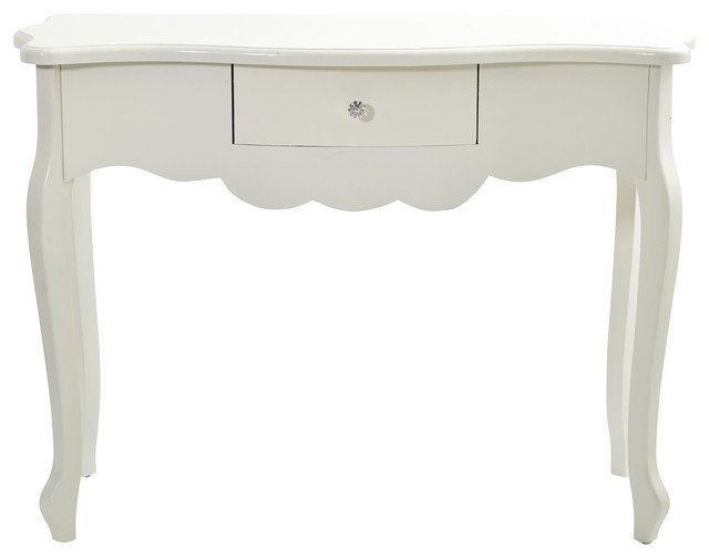 45.5 Vintage-Style White Desk With Drawer.