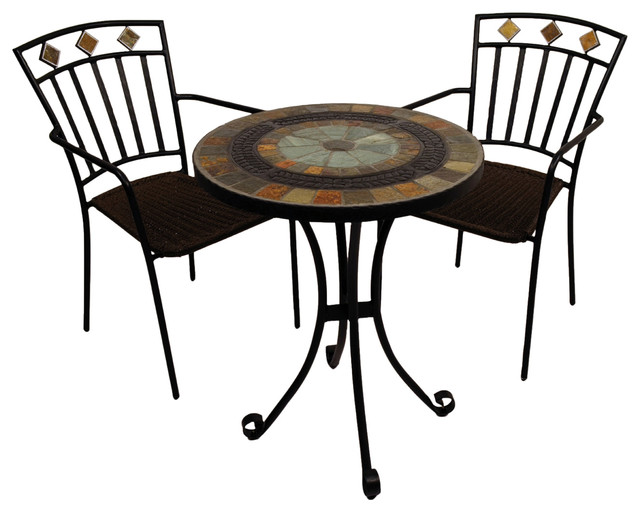 Villena Bistro Table With Malaga Chairs, 3-Piece Set