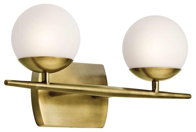 Kichler Jasper 2-Light 2-Arm Bathroom Vanity Light in Natural Brass