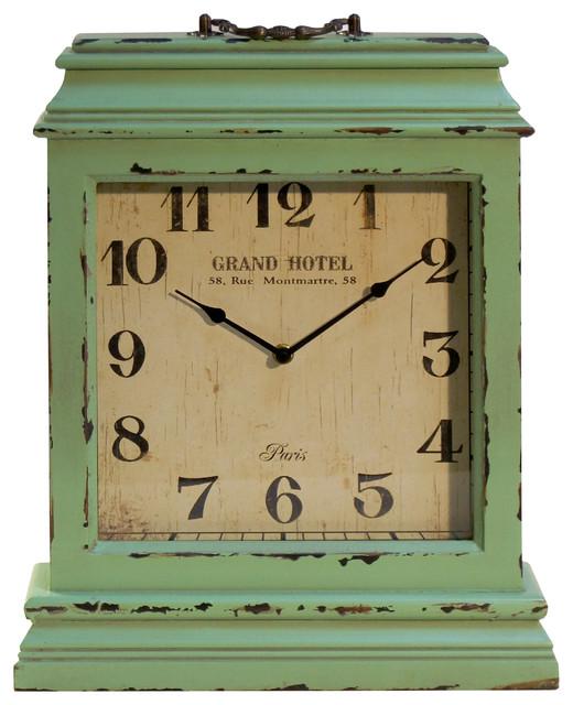 Square Wooden Mantel Clock Seafoam Rustic Desk And