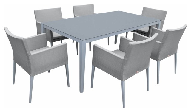 Outdoor Aluminum Gray Frosted Glass 7-Piece Rectangular Dining Table Set.