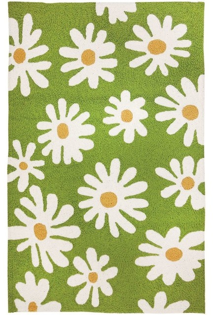 Daisy Canvas Indoor Outdoor Washable Rug 58 X78 Contemporary Rugs