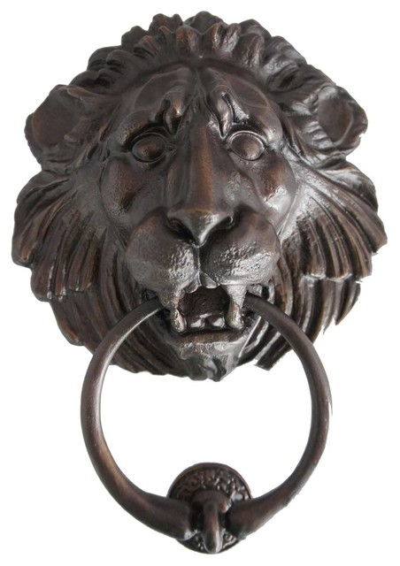Antique-Style Reproduction Bronze Lion Head Door Knocker, Large - Antique-Style Reproduction Bronze Lion Head Door Knocker