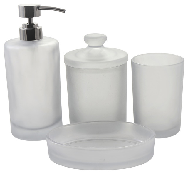 Smoked Glass Bath Accessory Set Of, Glass Bathroom Accessories Sets
