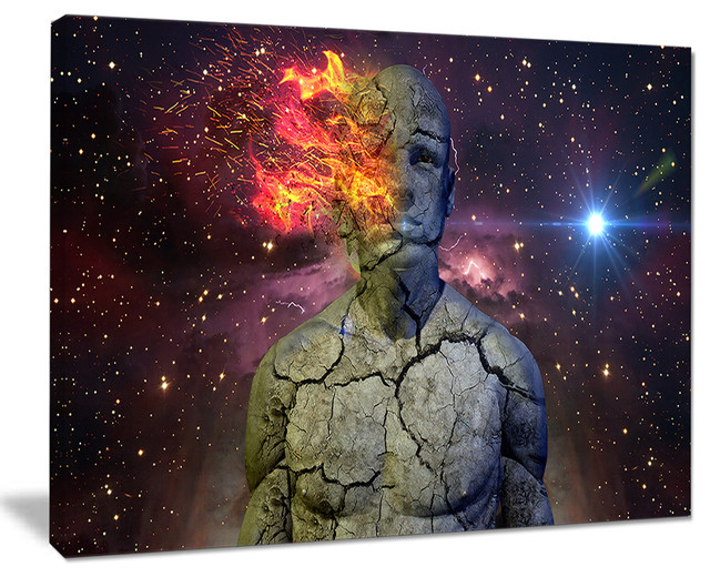 Broken Human Body With Fire Abstract Art Canvas Print Contemporary Prints And Posters By Design Art Usa