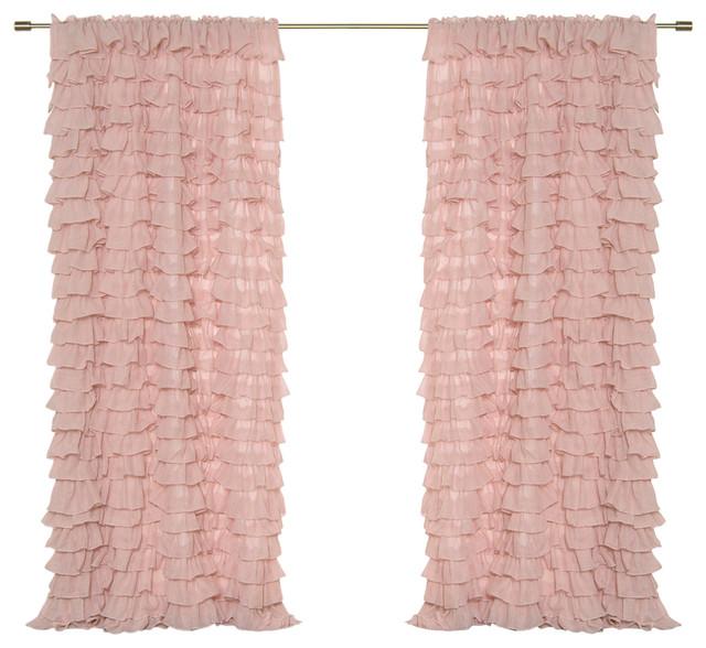 "Ruffle Cascade Curtain, Pink, 52""x84""."