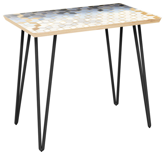 Brixton Hairpin Side Table   Midnight Gold Deco