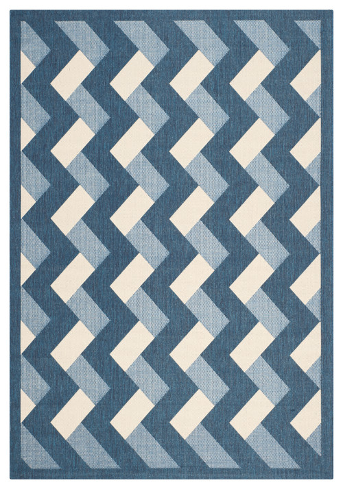 "Frederico Indoor/Outdoor Rug, Navy/Beige, 5'3""x7'7"""