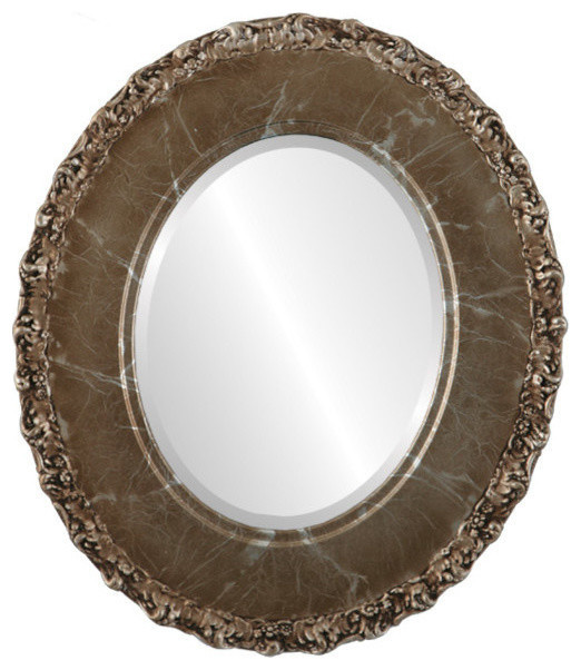 Williamsburg Framed Oval Mirror In Champagne Silver, 23x27.