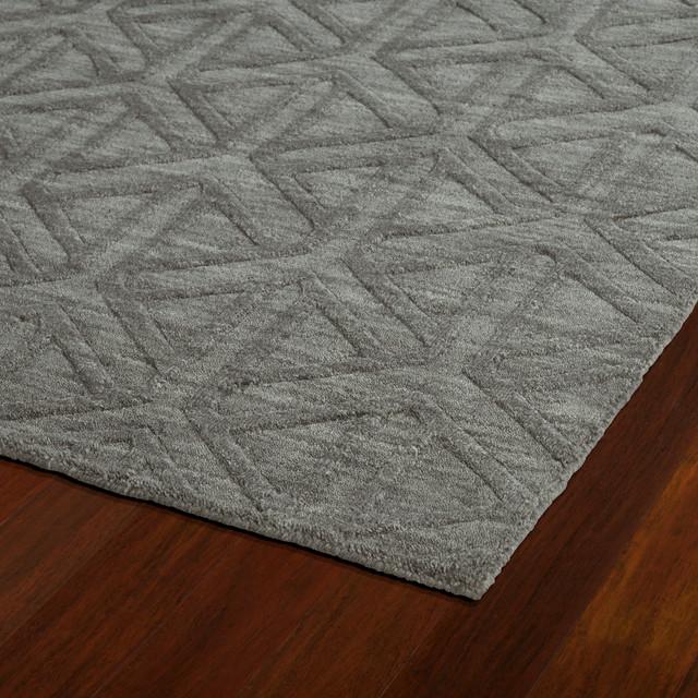 "Kaleen Hand Tufted Imprints Modern Wool Rug, Charcoal, 9&x27;6""x13&x27;6""."