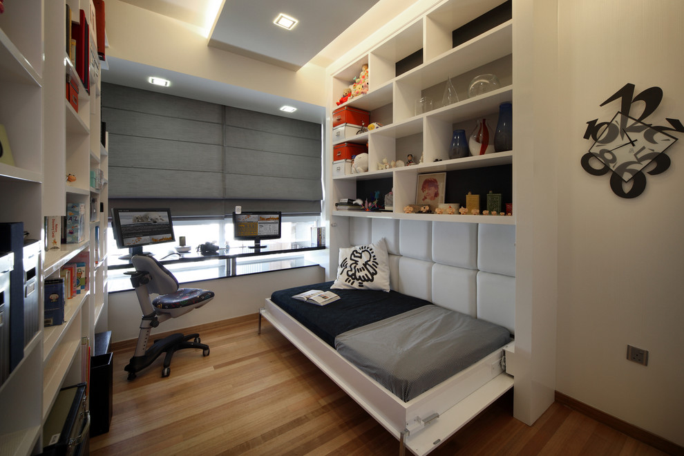 Design ideas for a contemporary home office in Singapore with white walls.