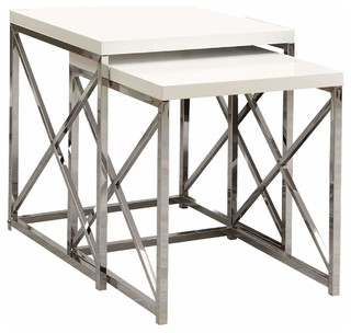 Nesting Table, Set of 2, Glossy White, Chrome Metal
