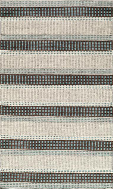 Mesa Hand-Woven Reversible Flatweave Rug, Blue, 5&x27;x8&x27;.