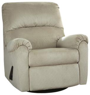 Signature Design by Ashley Bronwyn Swivel Glider Recliner in Fabric, Sand
