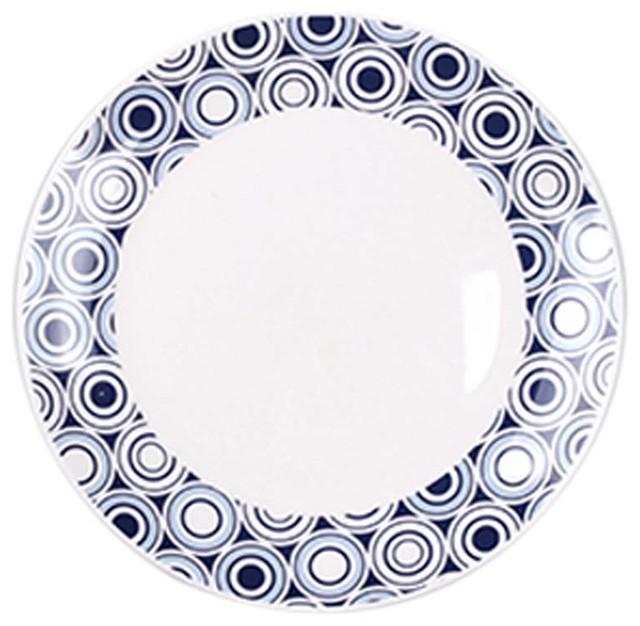 8\  Unique Porcelain Ceramic Plates Dinner Plate Dessert Serving Plates Blue contemporary-dinner  sc 1 st  Houzz & 8\