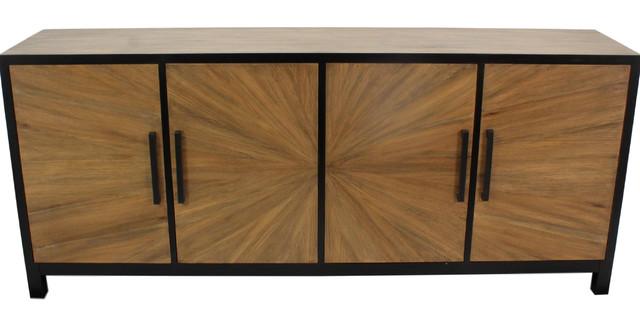 Wood and Iron Sunburst Sideboard