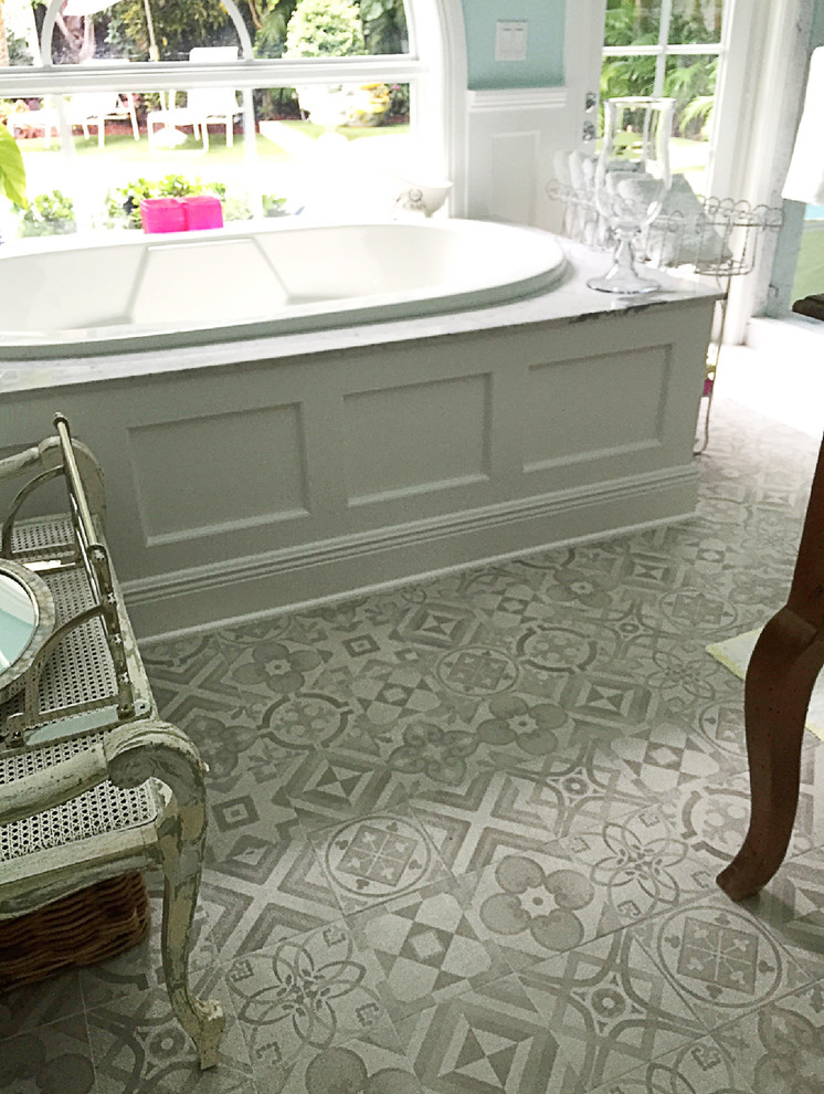 Traditional bathroom with painted look porcelain tiles ...